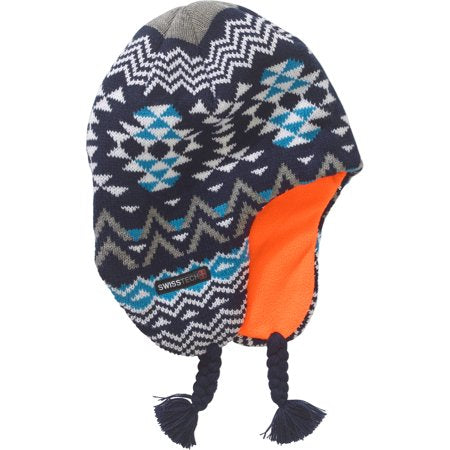 Boys Youth Swiss Tech Knit Fair Isle Peruvian Winter Hat Blue/Orange