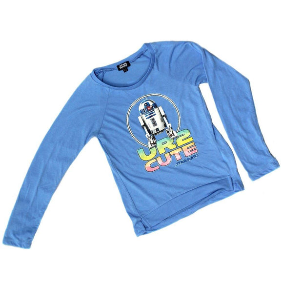 Youth Big Girls UR2 Cute R2D2 Star Wars Long Sleeve Tee T-Shirt