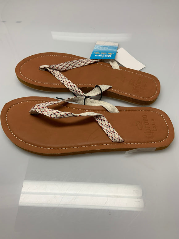 Corona Extra Brown White Woven Thong Flip Flop Sandals