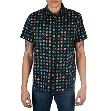 Mens Fallout Icons Pip Boy Vault Boy Video Game All Over Print Button Up Shirt