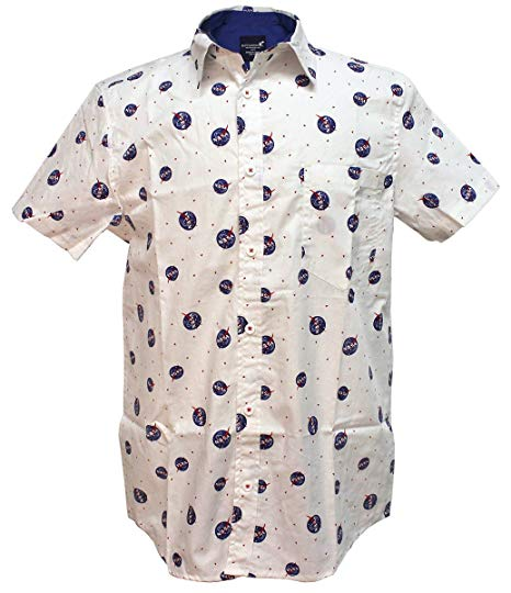 Mens White Woven Button Up NASA All Over Print Shirt