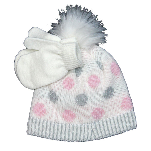 Girls Youth Polka-Dot White Fuzzy Pom Beanie with Gloves