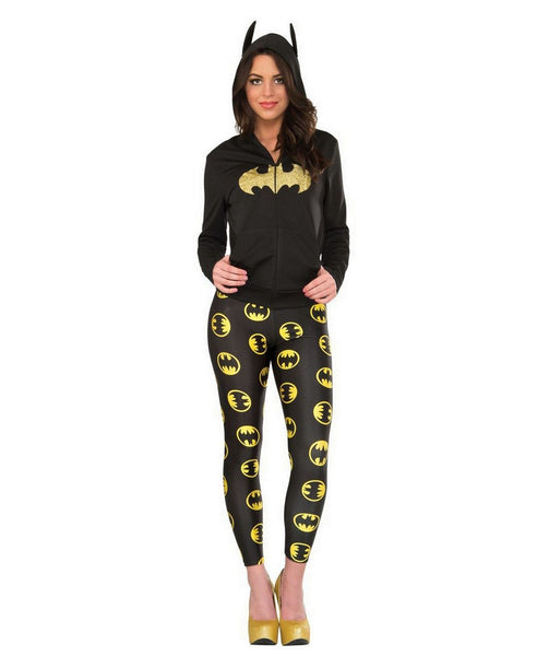 Womens Juniors Batman Batgirl Logos Black Leggings Pants
