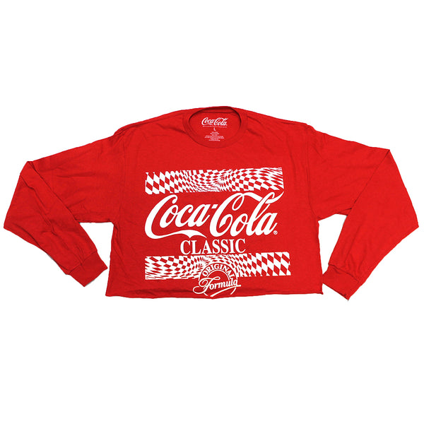 Women's Juniors Coca-Cola Classic Crop Top Graphic Tee T-Shirt