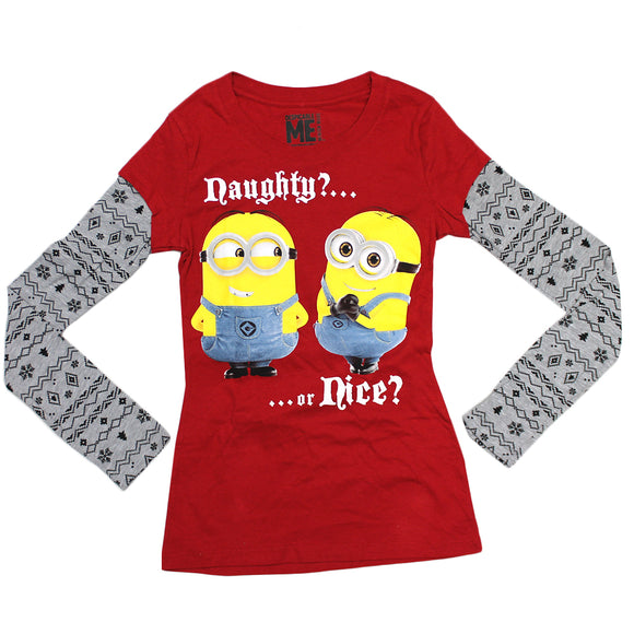 Girls Youth Red Despicable Me Naught or Nice Long Sleeve Tee T-Shirt