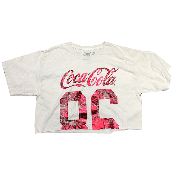 Women's Juniors White Coca-Cola 86 Crop Top Graphic Tee T-Shirt