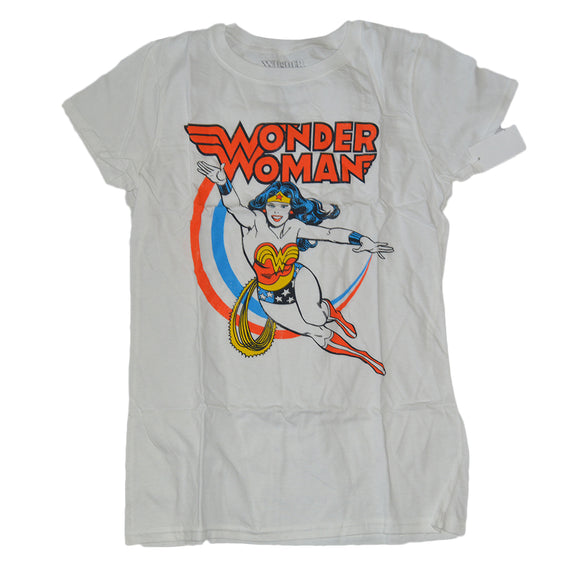 Womens Juniors White Wonder Woman DC Comics Tee T-Shirt