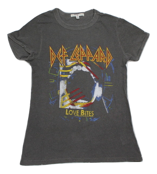 Womens Juniors Junk Food Def Leppard Love Bites Destroyed Vintage Finish T-shirt Tee