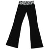 Womens Juniors Black White Superman Logo Fold Yoga Pants