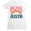 Womens Juniors White Live Music In The City Austin Texas Retro Tee Tshirt