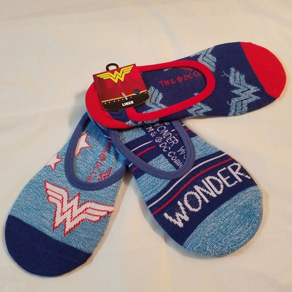 Womens Wonder Woman 3 Pack No Show Liners Socks