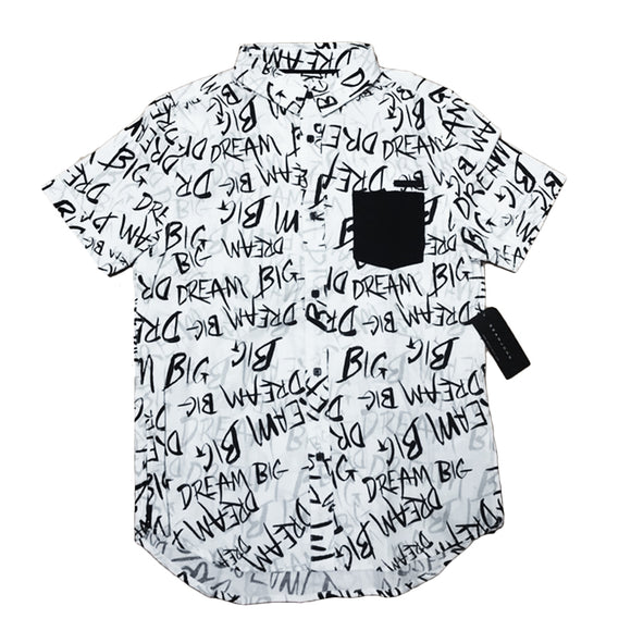 Boys Youth Sean John White Dream Big AOP Button Up Shirt