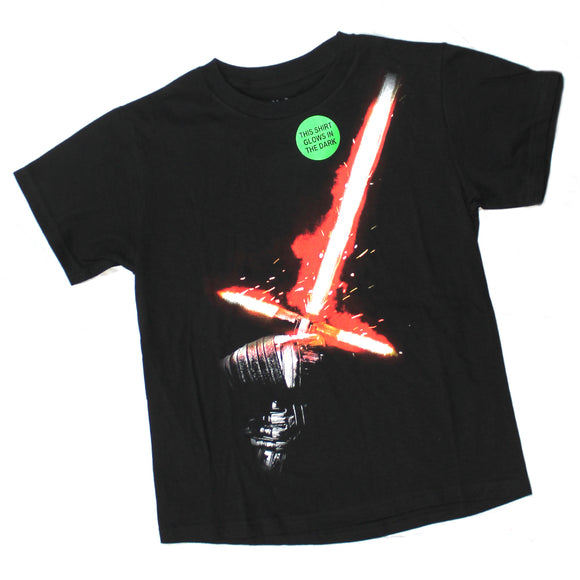 Youth Star Wars Kylo Ren Glow in the Dark Boys Black Tee T-Shirt