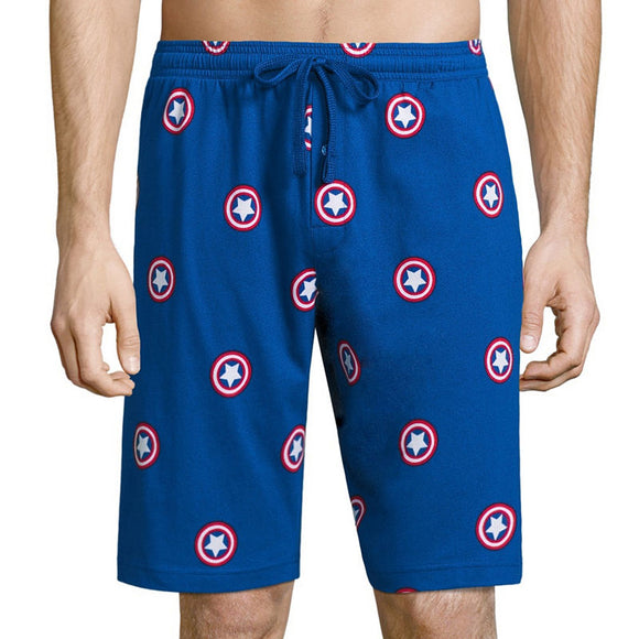 Mens Blue Captain America Shield Marvel Knit Pajama Sleep Lounge Shorts