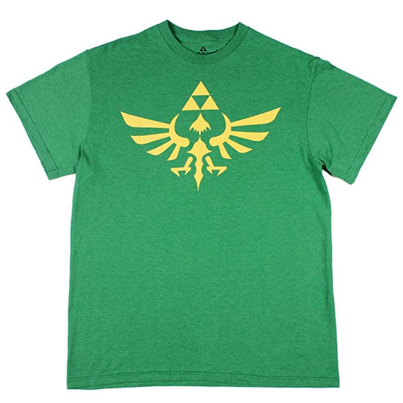 Mens Zelda Nintendo Triforce Link Hylian Green Retro Tee T Shirt
