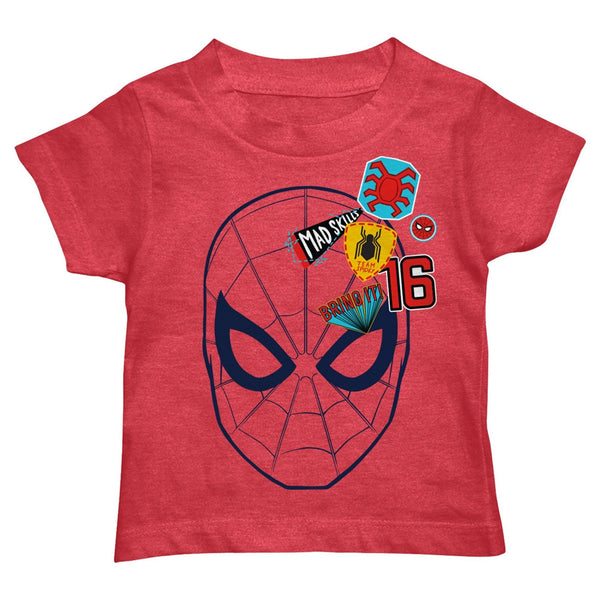Boy's Marvel Toddler Spiderman Patch T-Shirt Tee Red Heather
