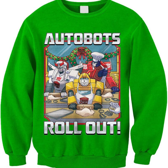 Mens Green Autobots Roll Out Transformers Faux Ugly Christmas Sweater Sweatshirt