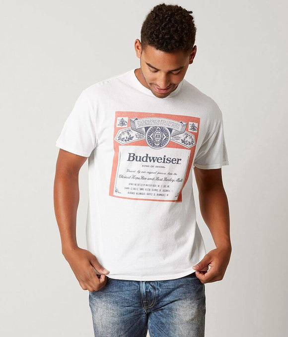 Men's White Budweiser Label Graphic Tee T-Shirt