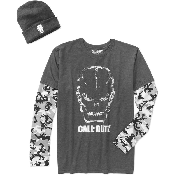 Men's Call of Duty Gray Camo Shirt & Beanie Combo Tee T-Shirt