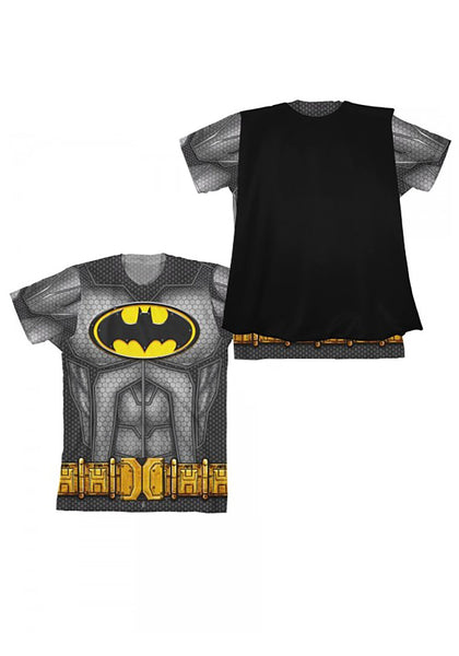 Boys Youth Black Batman DC Comics Sublimated Cape Costume Tee T-Shirt