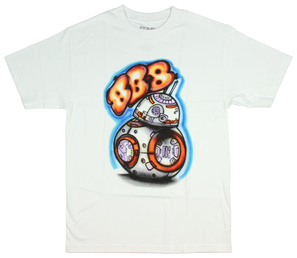 Mens Star Wars BB-8 Street Art Graffiti White Tee T Shirt