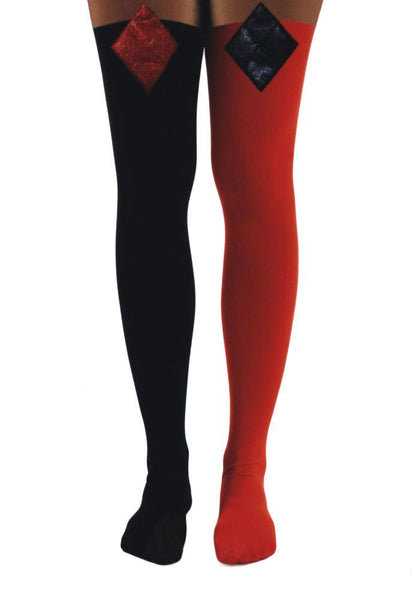 DC Comics Harley Quinn Lurex 3D Diamond Over The Knee Socks