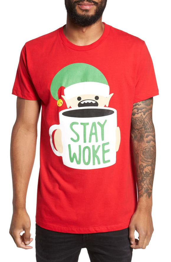 Men Red Stay Woke Elf Coffee Holiday Tee T-Shirt
