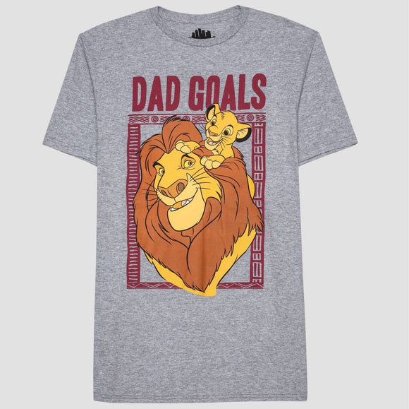 Mens Gray Heather Lion King Dad Goals Graphic Tee T-Shirt