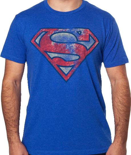 Mens Blue DC Comics Superman Logo Distressed Tee T Shirt