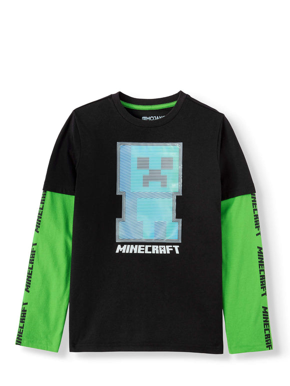 Boys Youth Minecraft Line Sprite Long Sleeve T-Shirt Tee
