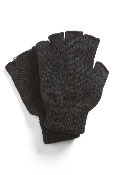 Womens Free Authority Knit Finger-less Gloves Black
