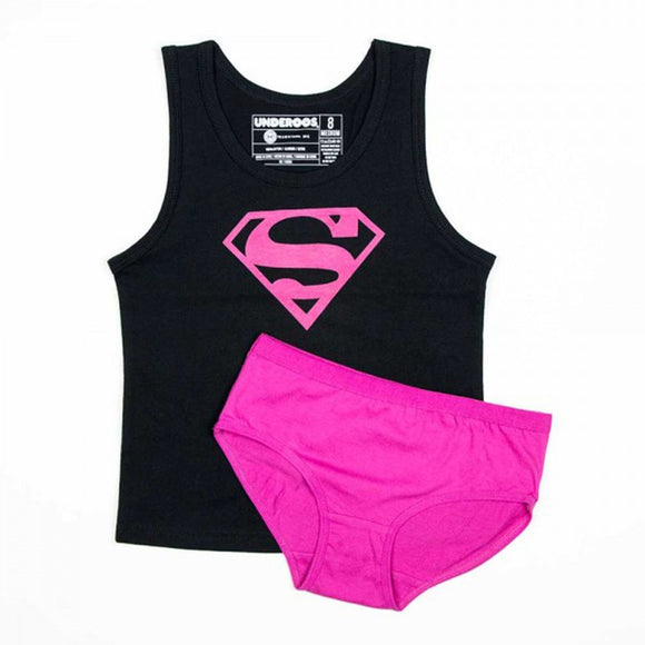 Womens Supergirl DC Comics Black Pink Tank Top & Briefs Underwear Set