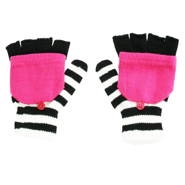 Size 4-14 Nolan Girls Striped Convertible Fingerless Gloves Winter Snow Mittens