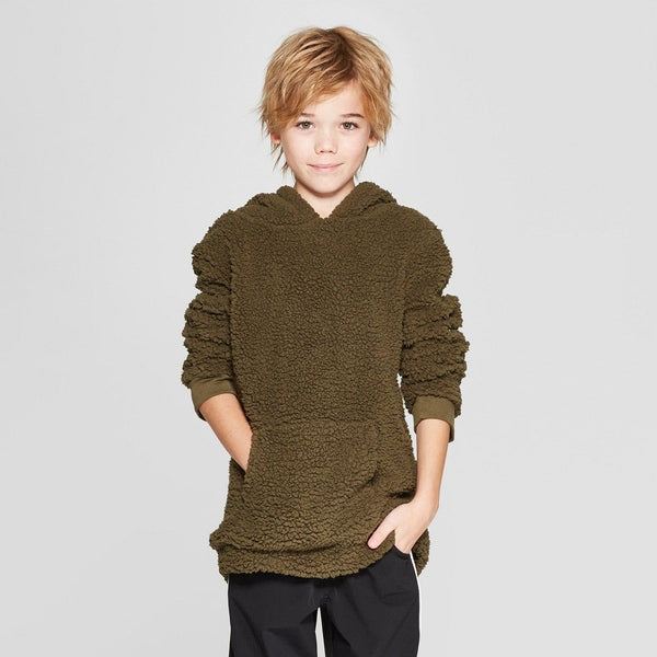 Boys Long Sleeve Cowl Neck Sherpa Sweatshirt