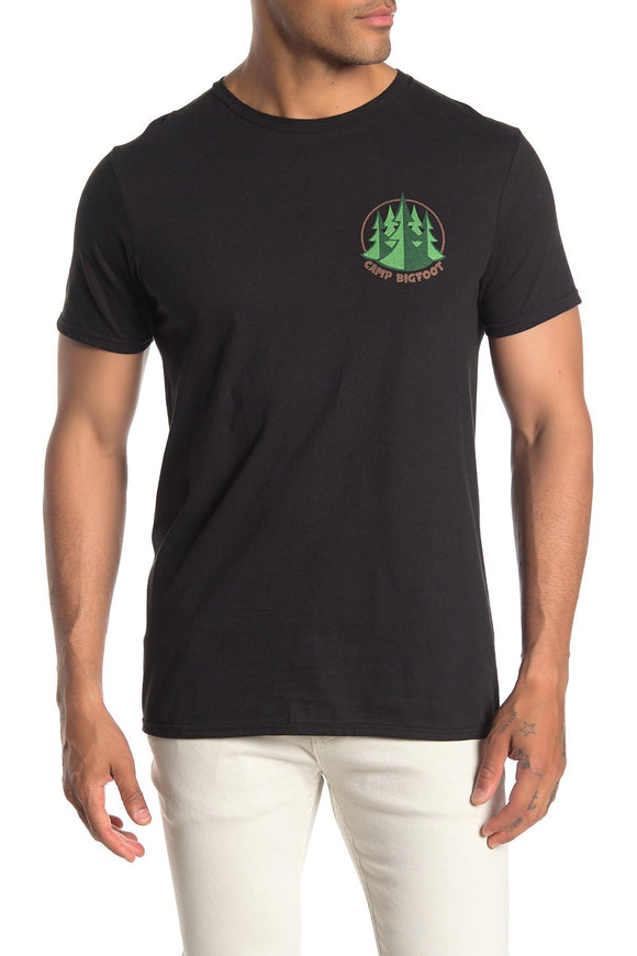 Mens Black Camp Bigfoot Graphic T-Shirt Tee