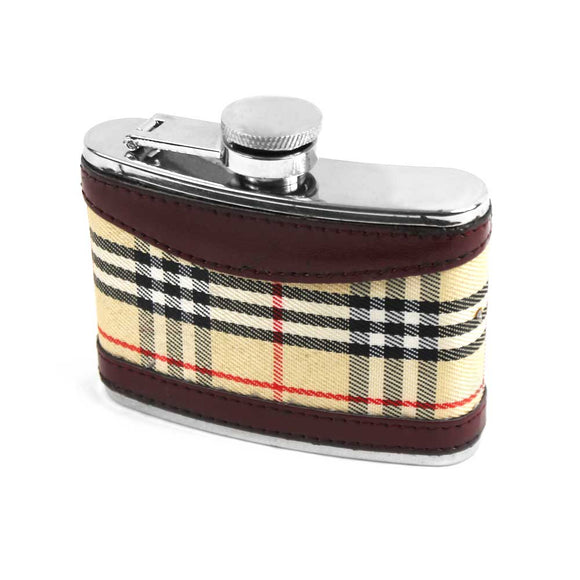 FX 674 4oz hip flask w/ leather and tartan cover