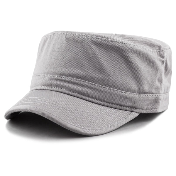 Men's Gray Basic Solid Military Cadet Hat
