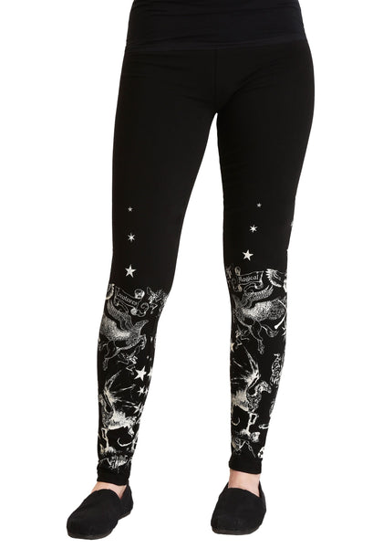 Womens Juniors Black Harry Potter Creatures Legging Yoga Pants