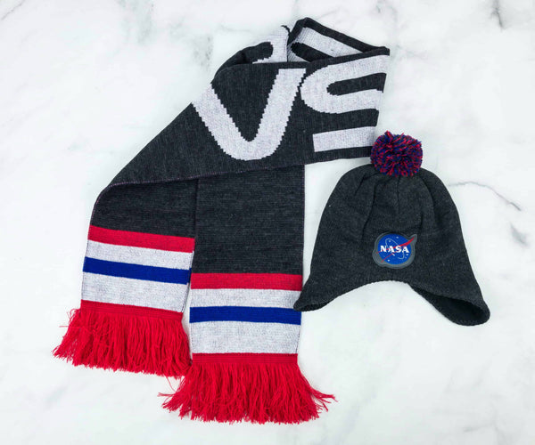 Adult Gray NASA Loot Wear Exclusive Earflap Beanie & Scarf Set