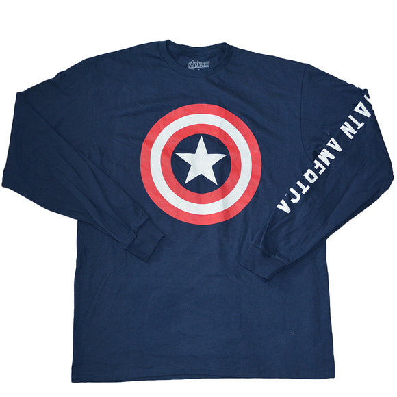 Mens Blue Captain America Avengers Shield long Sleeve Tee T-Shirt