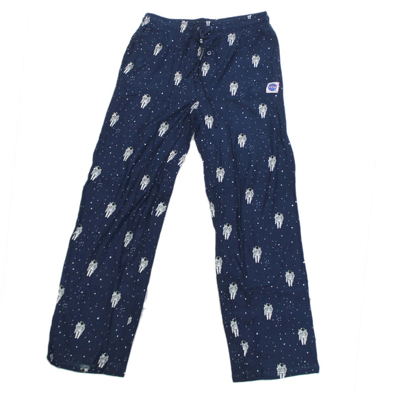 Mens Pajama Pant Bottoms Navy NASA Space Astronaut Stars All Over Print