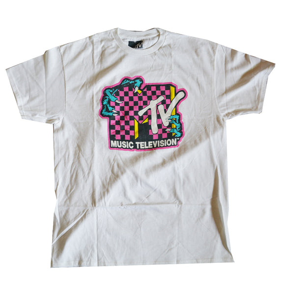 Men's White MTV Logo Monster Hands Graphic Tee T-Shirt