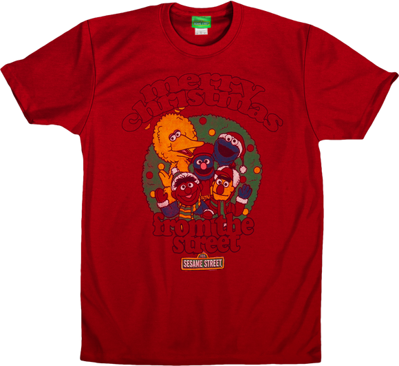 Mens Red Sesame Street Merry Christmas From The Street Tee Tshirt