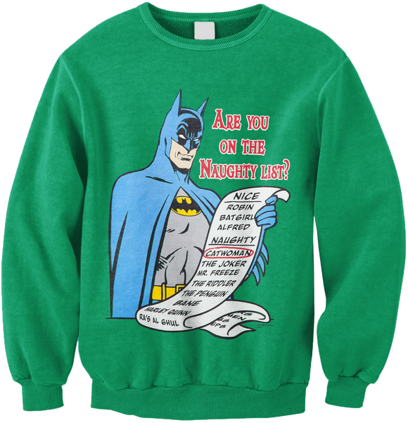 Mens Green DC Comics Batman Are You On The Naughty List Sweater Sweatshirt