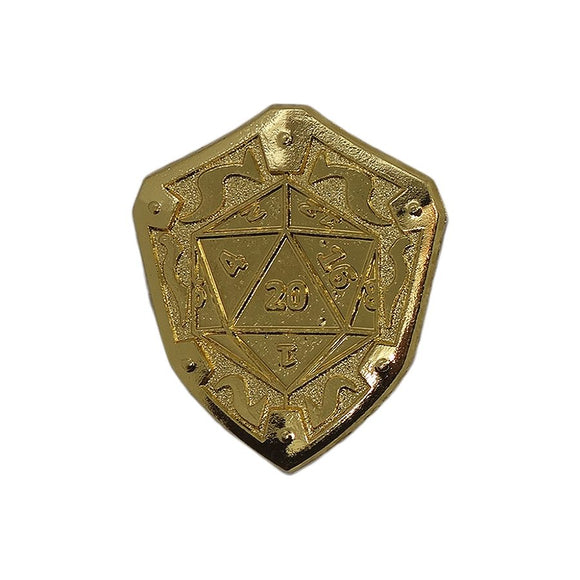 Loot Crate D20 Dice Gold Shield Enamel Pin