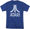 Mens Royal Blue Atari Retro Video Game Logo Graphic Tee T-Shirt