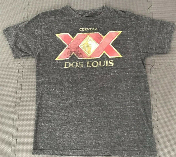 Mens Gray Heather Dos Equis XX Cervesa Graphic Mexican Beer Tee T-shirt