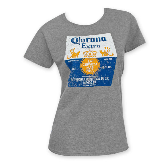 Womens Juniors Gray Heather Corona Extra Graphic Tee T-Shirt