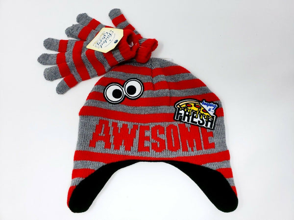 Boys Faded Glory Knit Awesome Eyes Pizza Hat Gloves Set Beanie Warm Winter Kids
