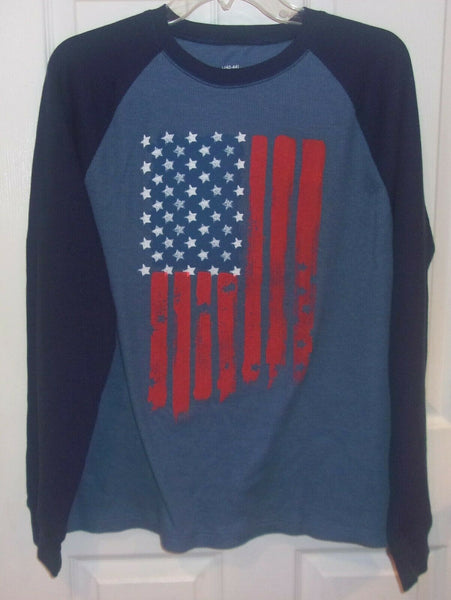 Men's Blue American Flag Thermal Long Sleeve Shirt